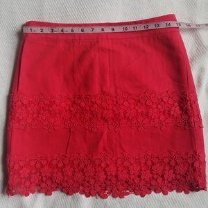 J. Crew Coral Lace Daisy Mini Skirt